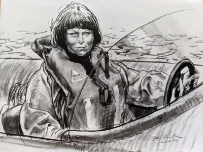 A charcoal of Fiona by John Worsley, marine artist