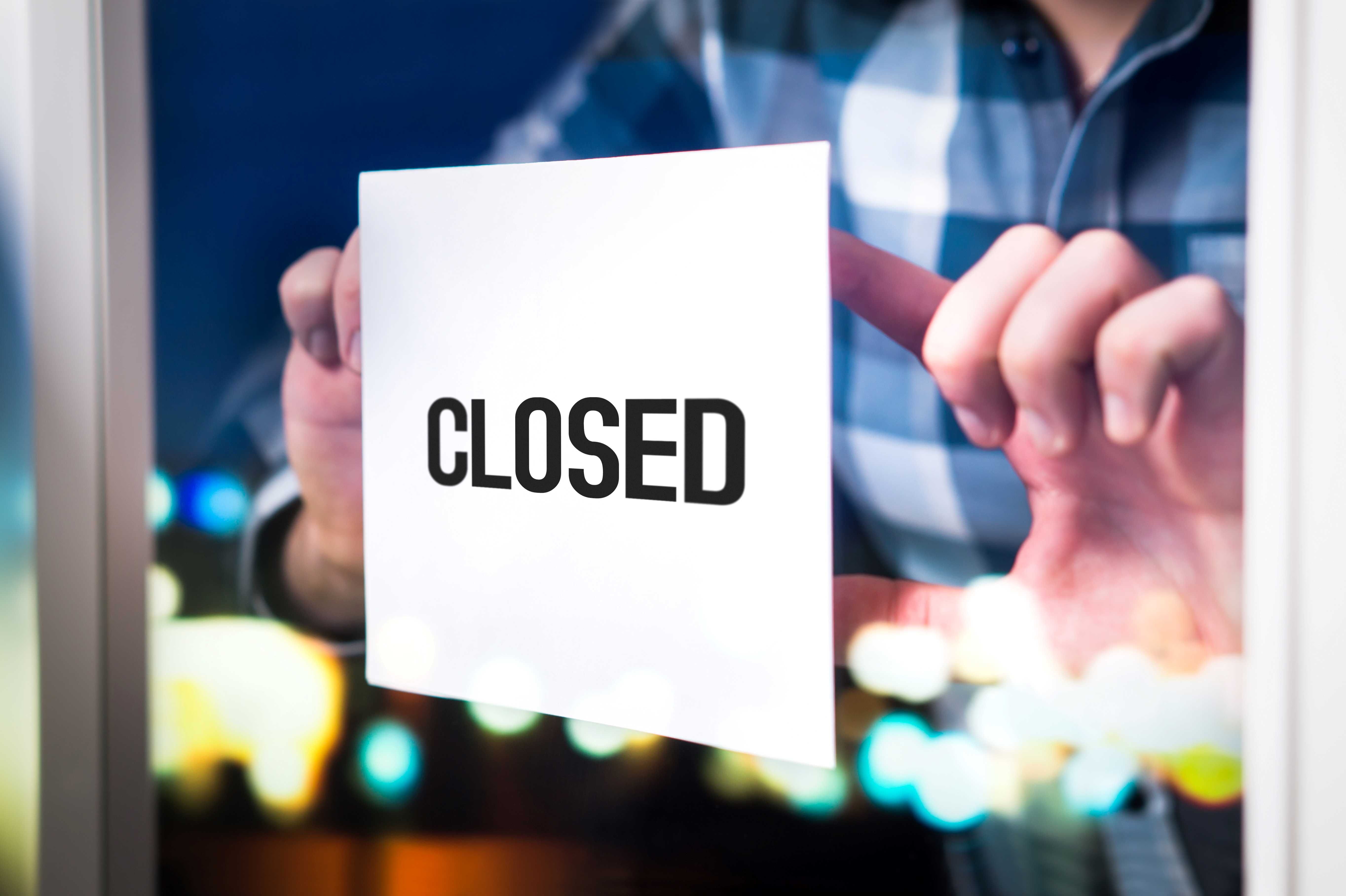 Business closed sign in window