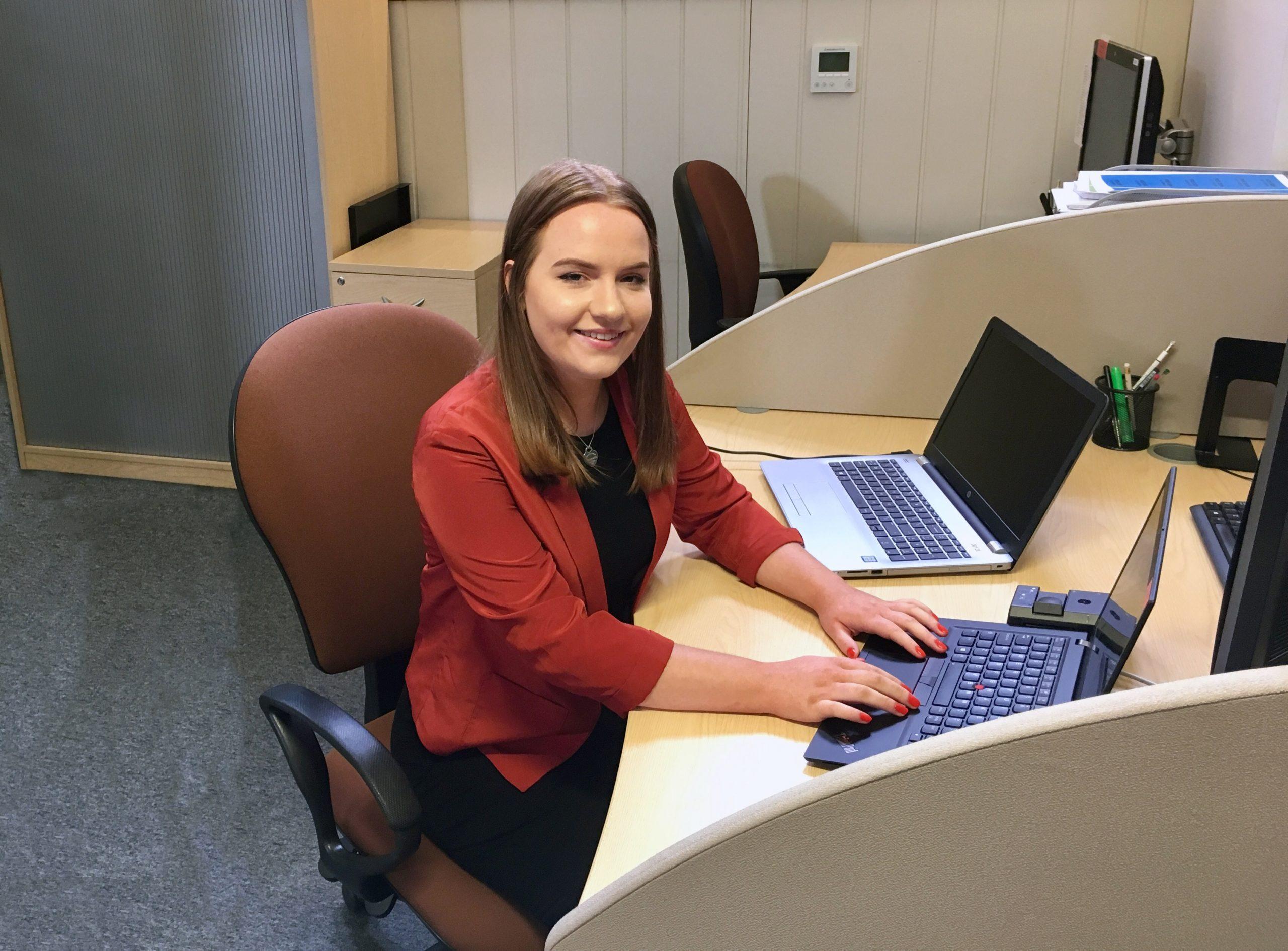 Natalie at her desk